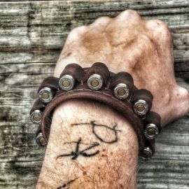 Six Shooter Leather Bracelet