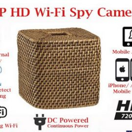 SecureGuard Wicker Tissue Box Cover Spy Camera