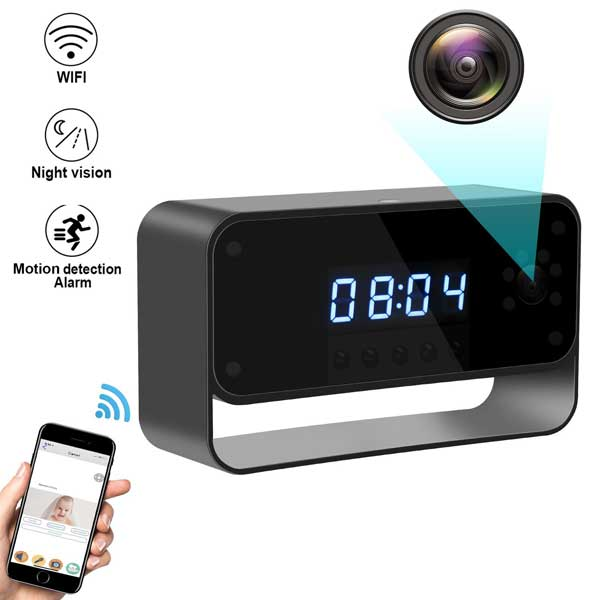 Security Spy Cameras Hidden: Hidden WiFi Camera Clock With Night Vision