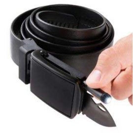 Survival Slide Belt with Knife & Flashlight