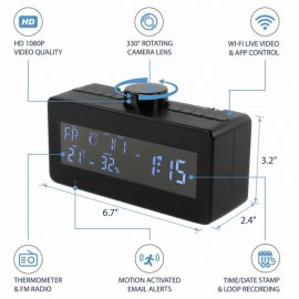 SC600W 1080P WiFi IP Digital Clock Hidden Camera