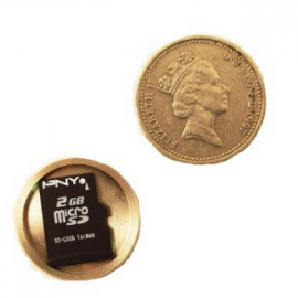 Hide Your Micro SD Card with Covert Hollow Spy Coin