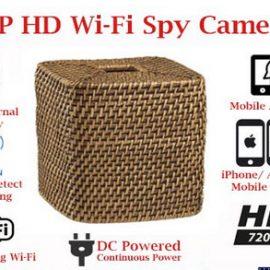 SecureGuard Wicker Tissue Box Cover Spy Camera