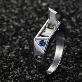 Titanium Self Defense Ring with Hidden Knife