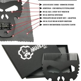 Anarchy Inc Skull Titanium Beard Comb & Multitool