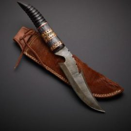 Handmade Damascus Hunting Knife with Bull Horn Handle