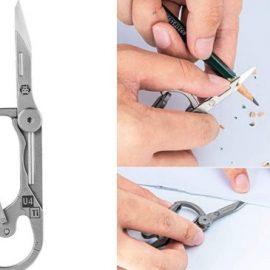 RovyVon U4 Titanium Carabiner with Folding Knife